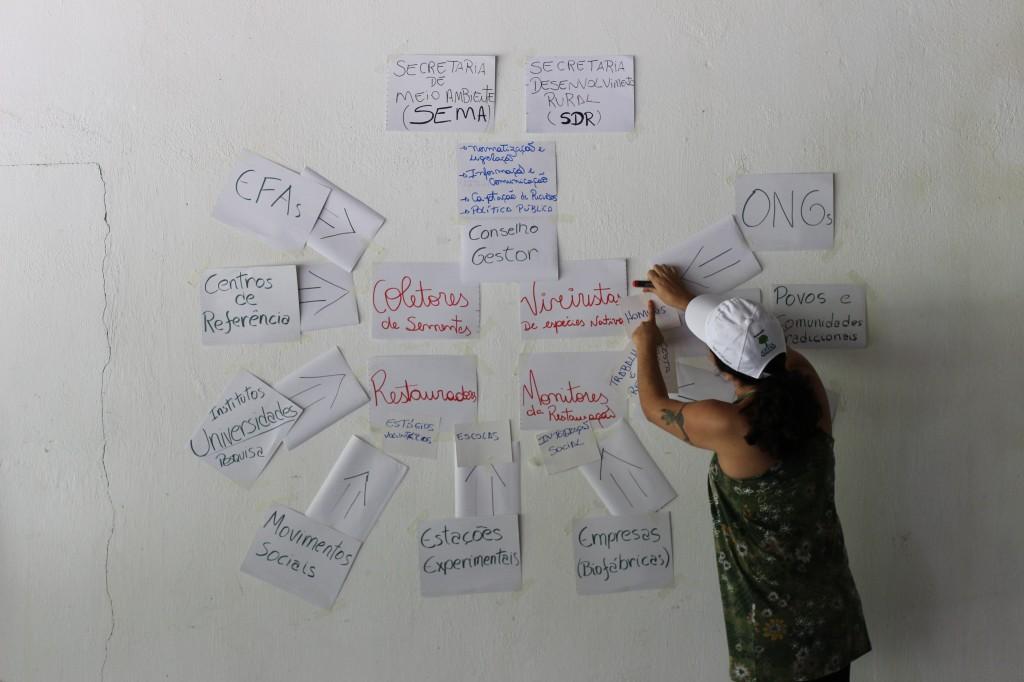 Tatiana Cabral mostra o desenho que pensou para a rede, a ser complementado pela participação de todos