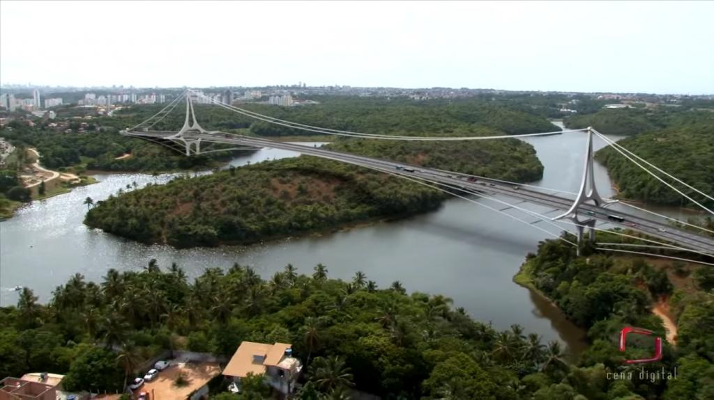 Projeção em vídeo mostra Avenida do Atlântico passando por cima de Pituaçu