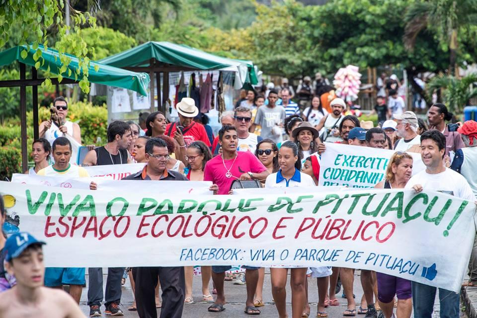 Manifestação em defesa do Parque Pituaçu no último dia 25. Foto: Edson Carvalho.