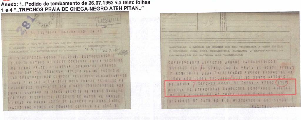 Assim foi feito o registro do pedido de tombamento: da praia de chega negro ATÉH a praia de Piatã. (Clique para ampliar)